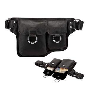 Black leather belt waist crossbody bag